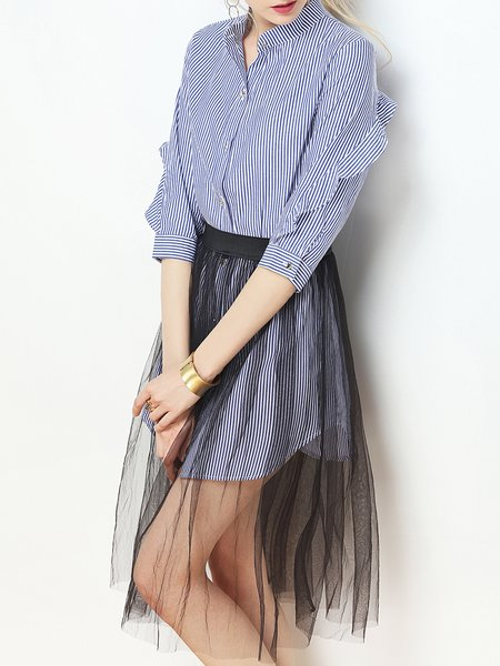 Long Sleeve Two Piece See-through Look Shirt Dress