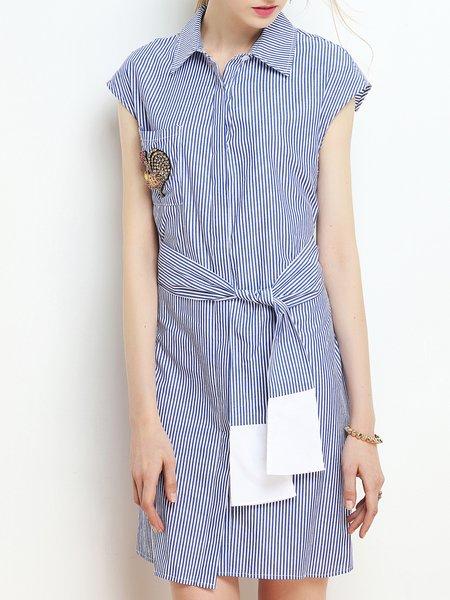 Blue Short Sleeve Beaded A-line Shirt Dress
