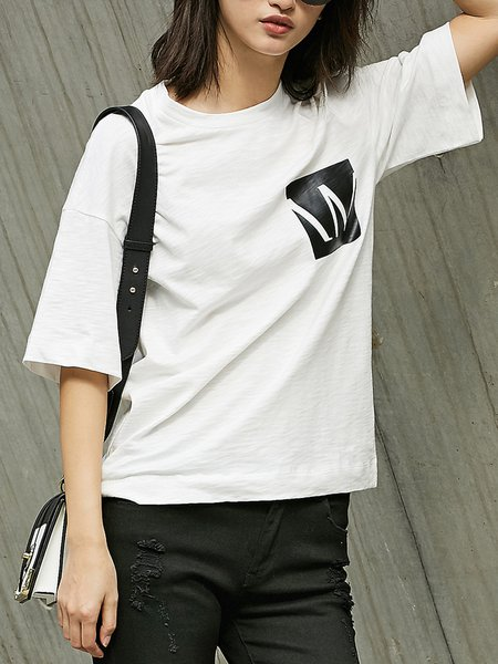 Simple Cotton Shorts Sleeve Crew Neck T-Shirt