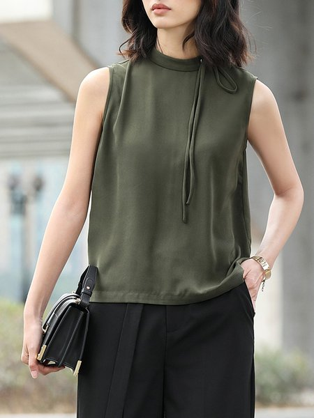 Sleeveless Solid Polyester Tank