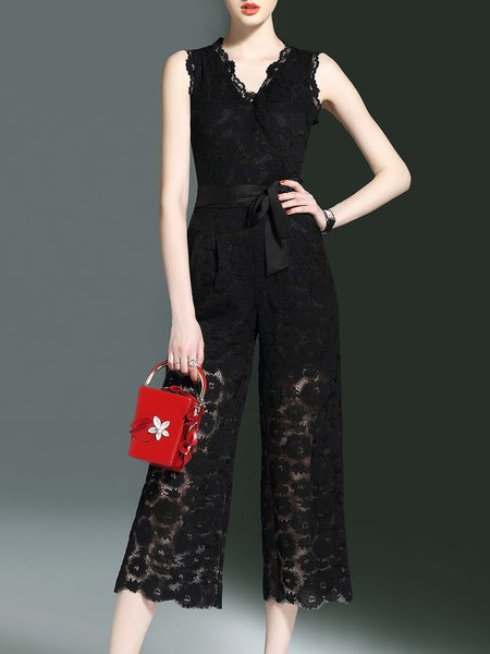 Sold V Neck Sleeveless Lace Jumpsuit with Belt