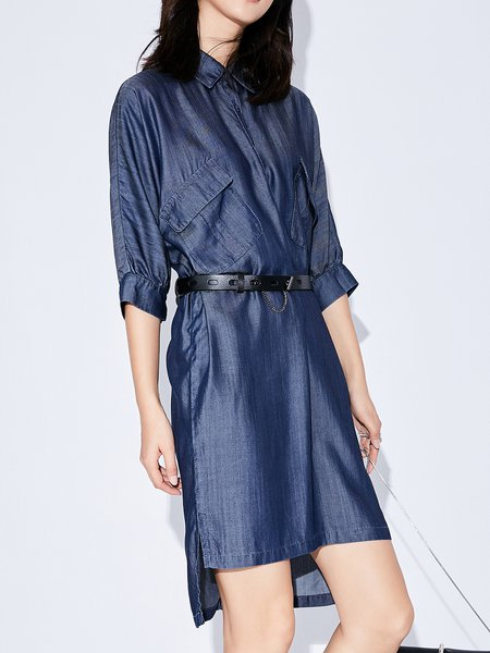 Half Sleeve Pockets Simple Midi Dress