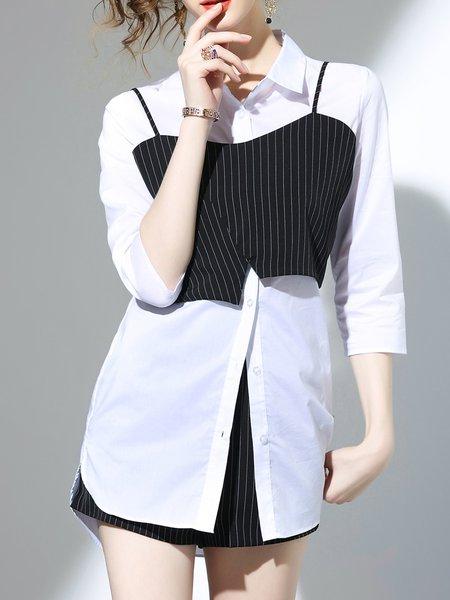 White-black Cotton-blend Three Pieces Romper