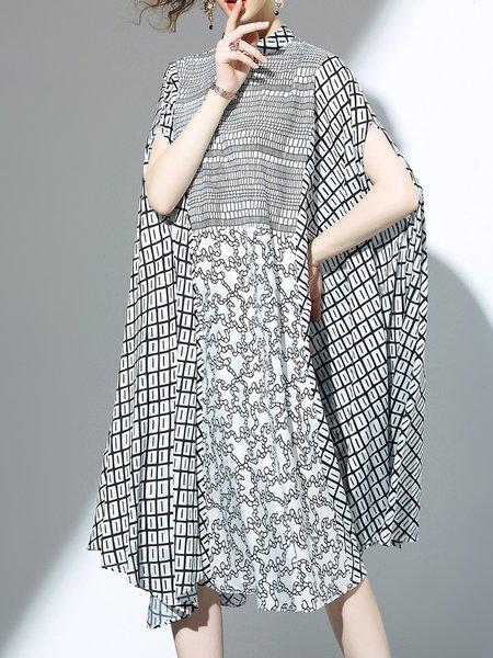 Printed Short Sleeve Casual Midi Dress