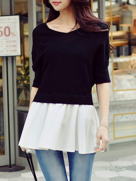 Black-white Color-block A-line Casual V Neck Blouse