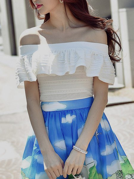 White Backless Off Shoulder Ruffled Casual Solid Blouse