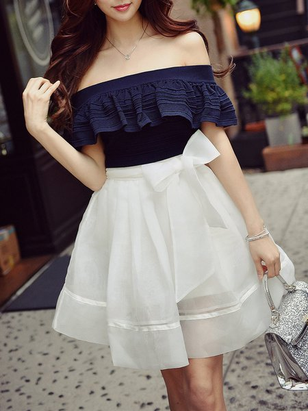Navy Blue Off Shoulder Ruffled Casual H-line Eyelet Blouse
