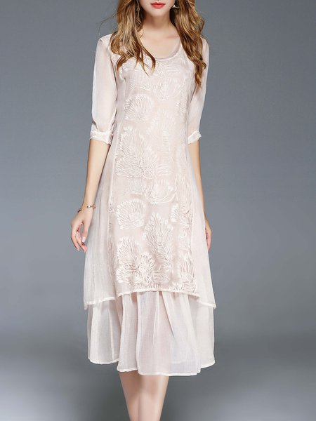 Apricot 3/4 Sleeve Silk Embroidered A-line Midi Dress
