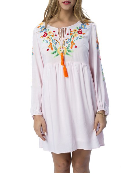 Boho Floral Embroidered Keyhole Long Sleeve Mini Dress