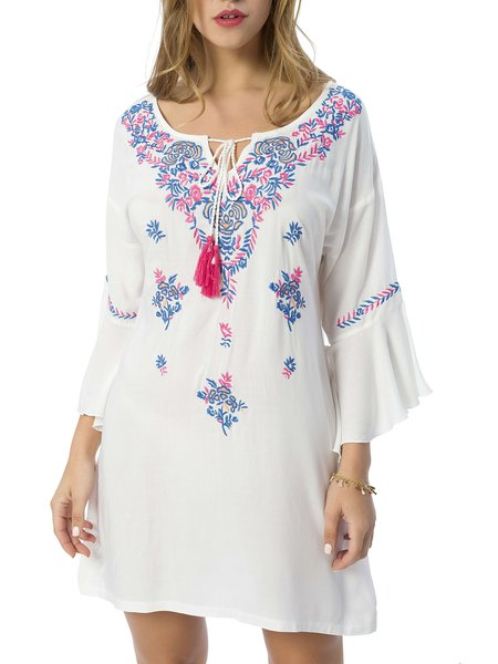 Keyhole Casual Frill Sleeve Embroidered Mini Dress