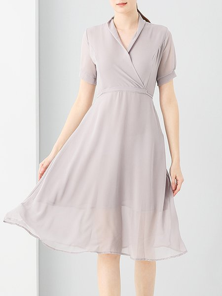 Folds Elegant Chiffon Short Sleeve Midi Dress