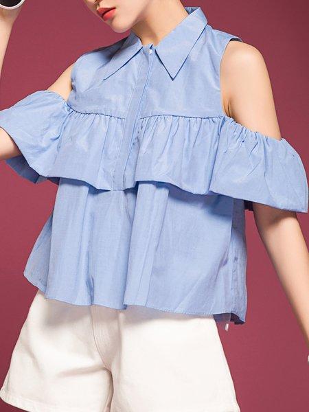 Blue Cutout A-line Ruffled Backless Cotton-blend Cold Shoulder Blouse