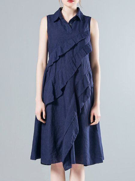 Dark Blue Shirt Collar Linen Ruffled Casual Midi Dress