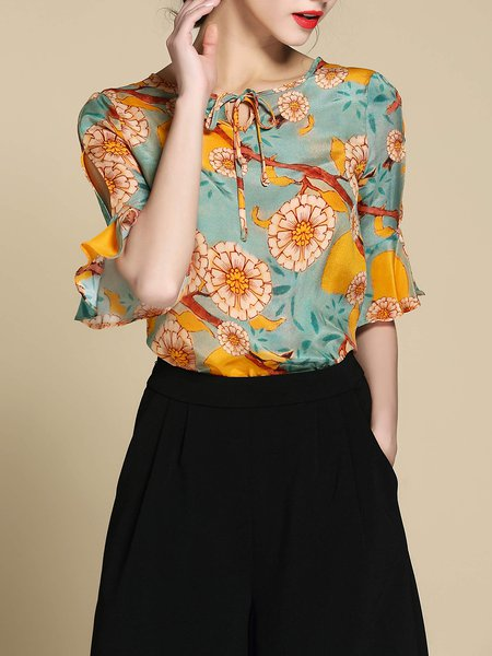 Yellow Frill Sleeve H-line Keyhole Floral Print Blouse