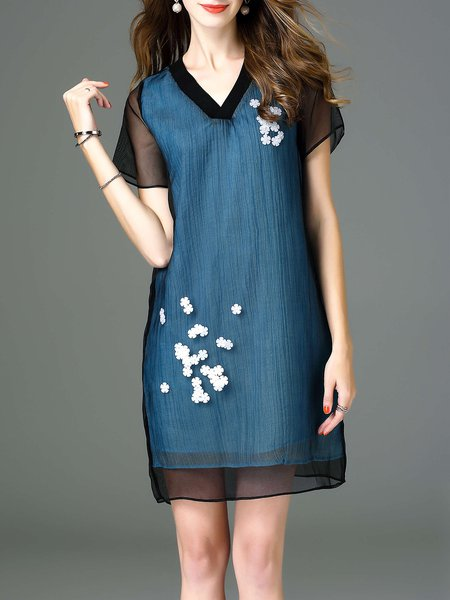Blue Floral Beaded Floral V Neck Casual Mini Dress