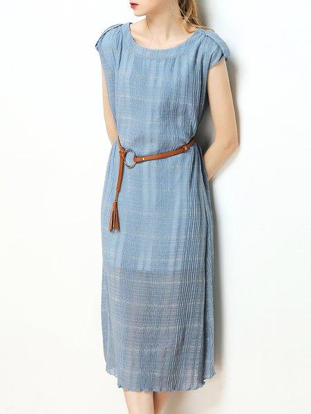 Short Sleeve Crew Neck Shift Casual Midi Dress