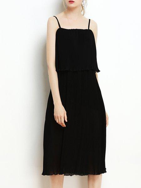 Black Spaghetti Pleated Midi Dress