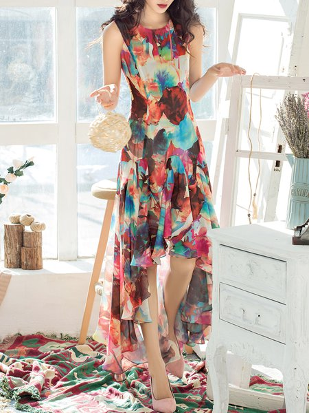 Floral Sleeveless Floral-print Beach Holiday Dress