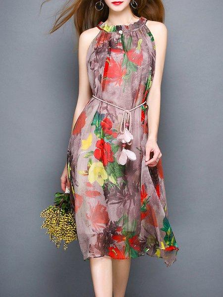 Multicolor Chiffon Halter Floral-print Sleeveless Midi Dress