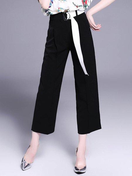 Black Solid Casual Wide Leg Pants