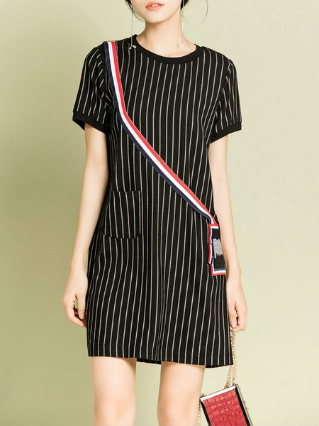 Casual Crew Neck Stripes Short Sleeve Mini Dress
