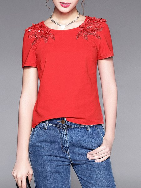 Shorts Sleeve H-line Floral-embroidered Casual Crew Neck T-Shirt
