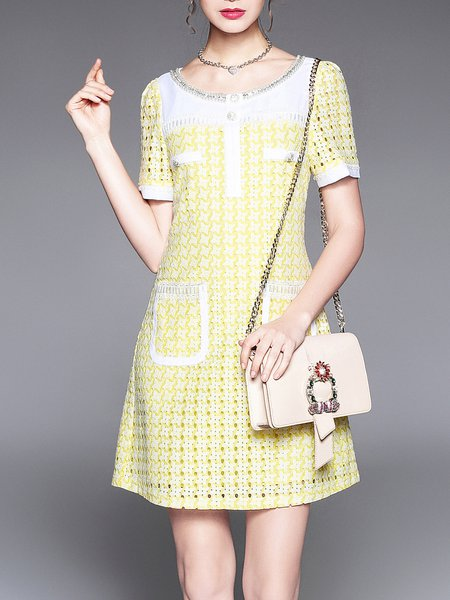 Yellow Floral Appliqued Shorts Sleeve Cotton-blend Mini Dress