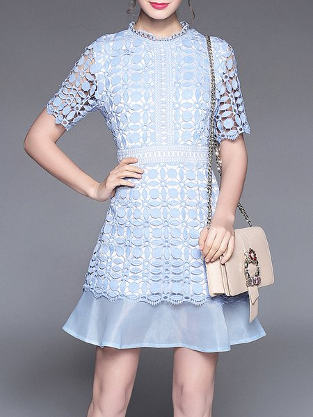Crocheted Lace Mermaid Casual  Crew Neck Midi Dress