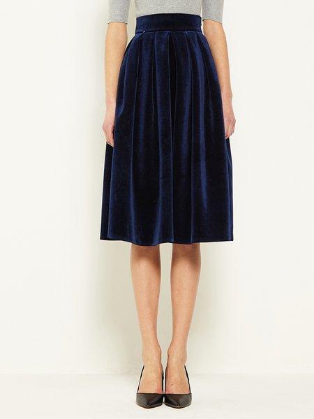 navy blue velvet high waist skater midi skirt