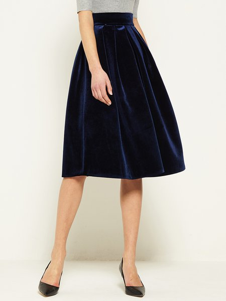 Navy Blue Velvet Elegant High Waist Skater Midi Skirt - StyleWe.com