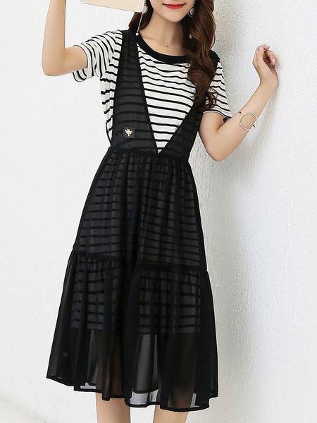 White-black Stripes Casual Cotton-blend Two Piece Midi Dress