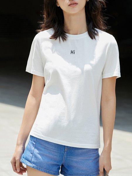 Crew Neck Simple Cotton-blend T-Shirt