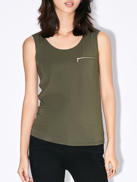 Army Green Solid Sleeveless Zipper Tank
