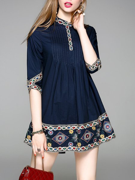 Stand Collar Embroidered A-line Half Sleeve Midi Dress