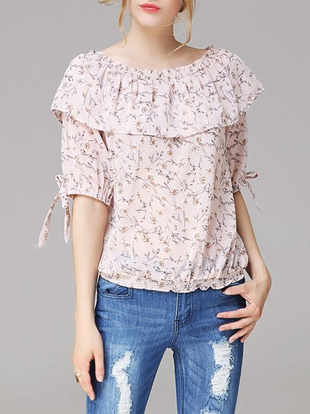 Pink Off Shoulder Ruffled Bow Floral H-line Tops
