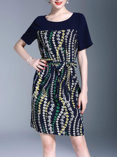 Navy Blue Floral-print Casual Cotton-blend Midi Dress