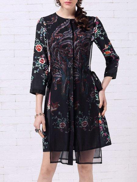 Black Casual Silk Printed Midi Dress
