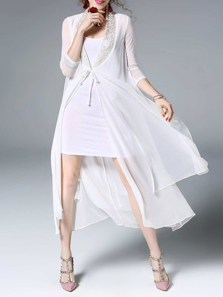 White Casual Floral Silk-blend Embroidered Coat