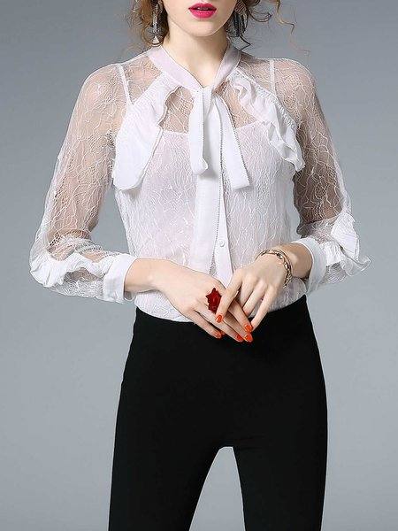 White Tulle Long Sleeve Ruffled Sheer Bow Solid Blouse