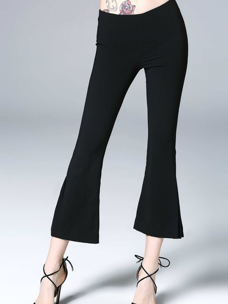 Black Solid Slit Casual Flared Pants