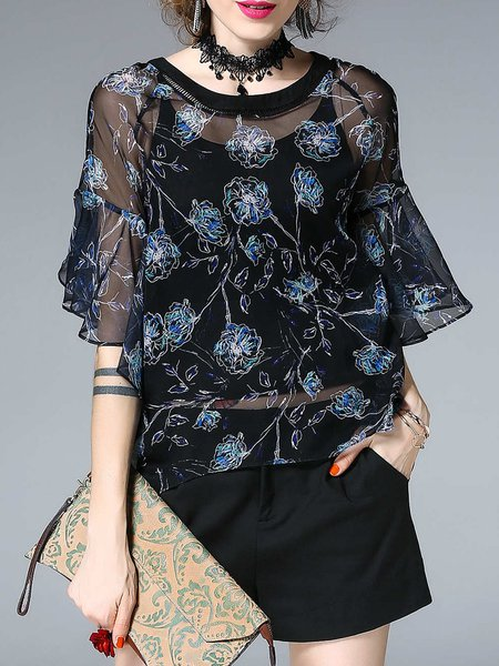 Black Floral-print Crew Neck Floral Bell Sleeve Tops
