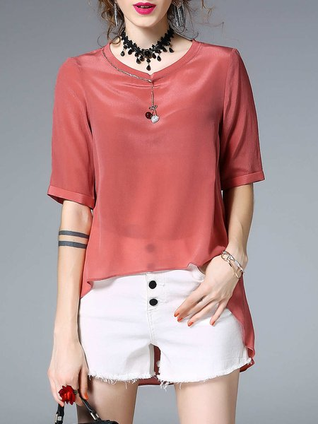 High Low Casual Solid Half Sleeve Asymmetric Blouse