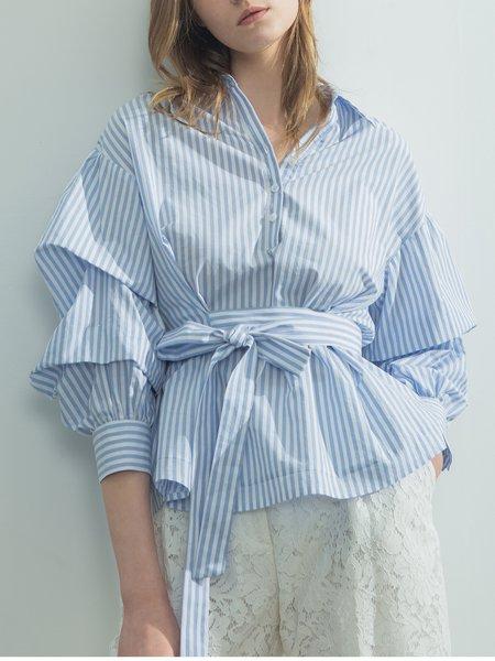 Light Blue Stripes Long Sleeve Shirt Collar Shirred Blouse