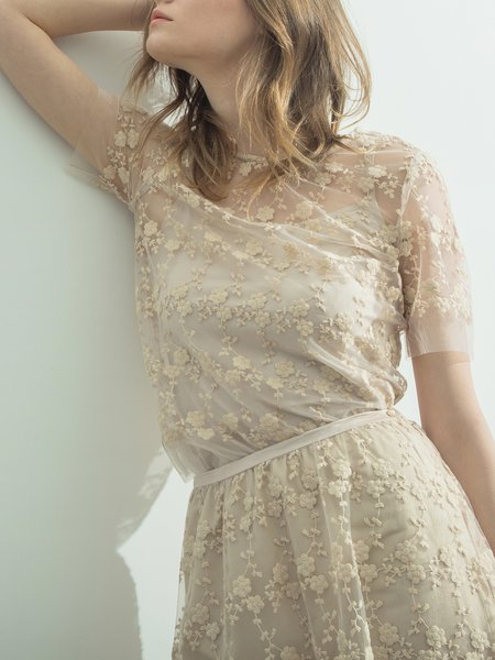 Embroidered Shorts Sleeved Top