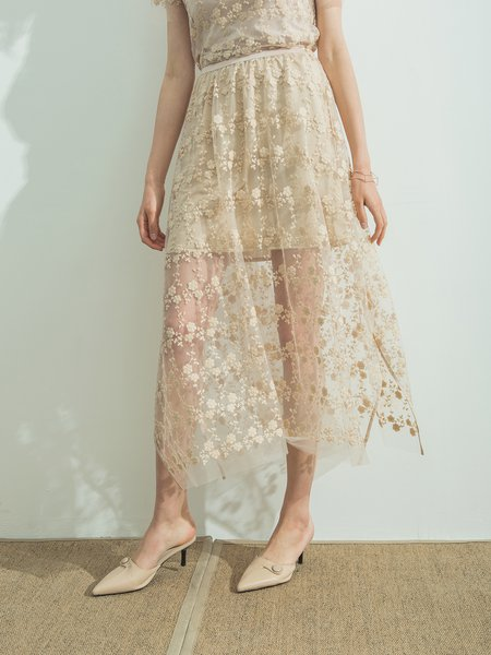 Apricot Elegant A-line Floral Midi Skirt