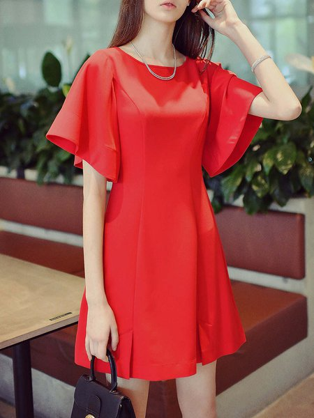 Red Paneled Frill Sleeve Crew Neck Mini Dress