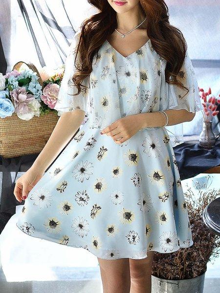 V Neck A-line Floral-print Batwing Girly Mini Dress