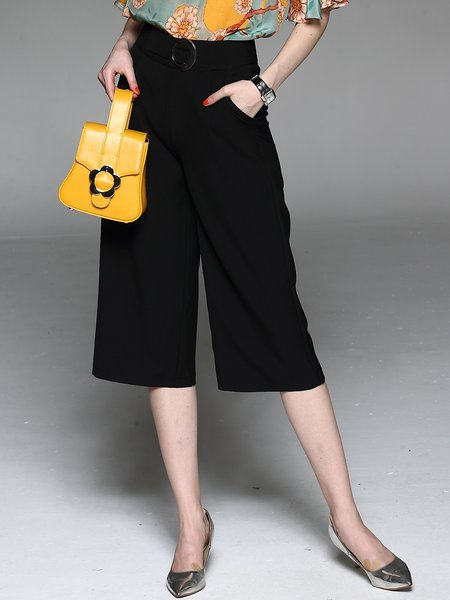 Black Casual H-line Pockets Wide Leg Pants