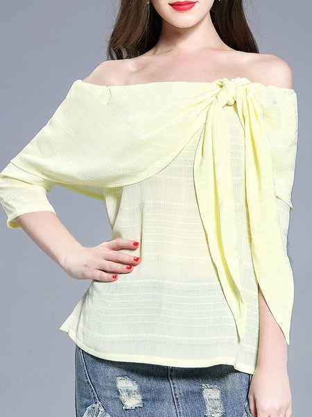 Yellow Bow 3/4 Sleeve Chiffon Off Shoulder Backless Blouse