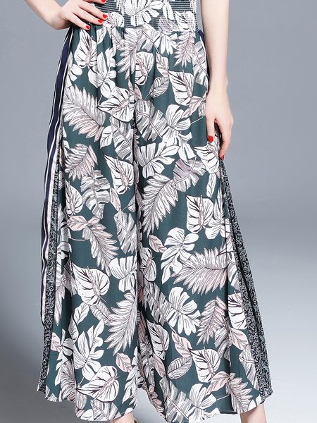 Multicolor Casual Printed Chiffon Wide Leg Pants